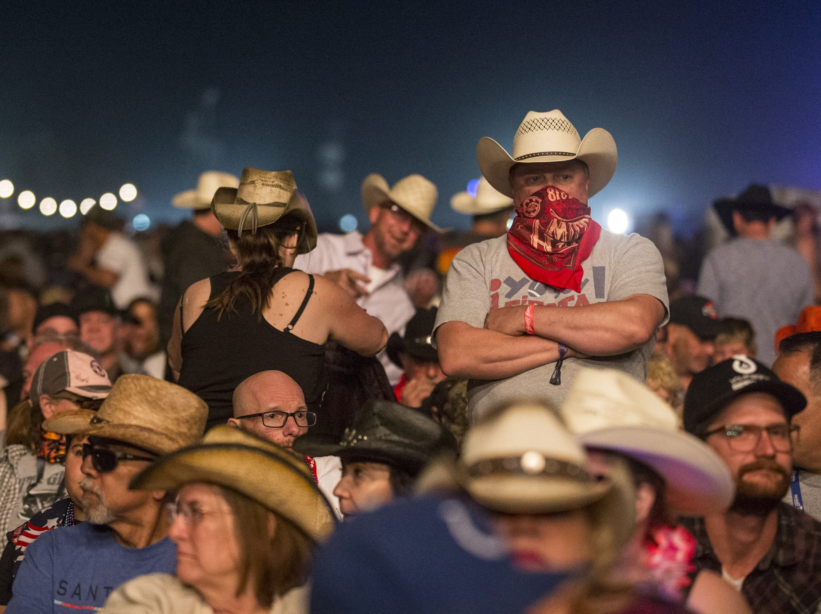 Fans wait for Chris Stapleton to perform on April 14, 2019, during Day 4 of Country Thunder Arizona in Florence, Arizona.