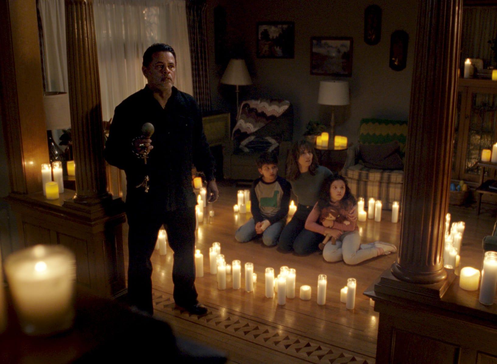 "Raymond Cruz (from left), Roman Christou, Linda Cardellini and Jaynee-Lynne Kinchen star in ""The Curse of La Llorona."""