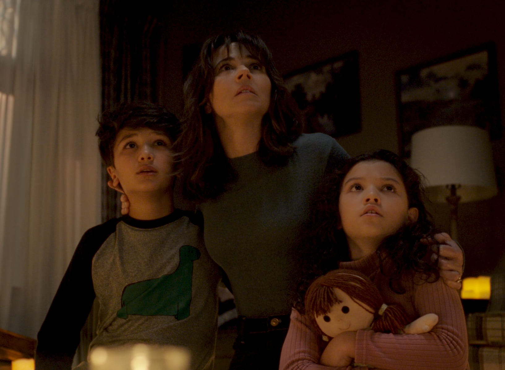 "Roman Christou, Linda Cardellini (center) and Jaynee-Lynne Kinchen star in ""The Curse of La Llorona."""