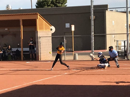 Saguaro softball pitcher Caelan Koch batting