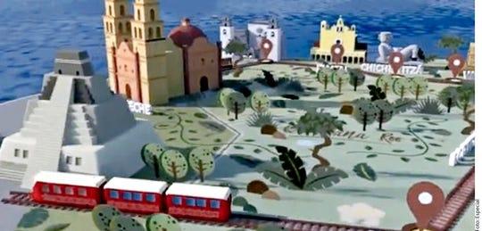 Representación virtual de Tren Maya.