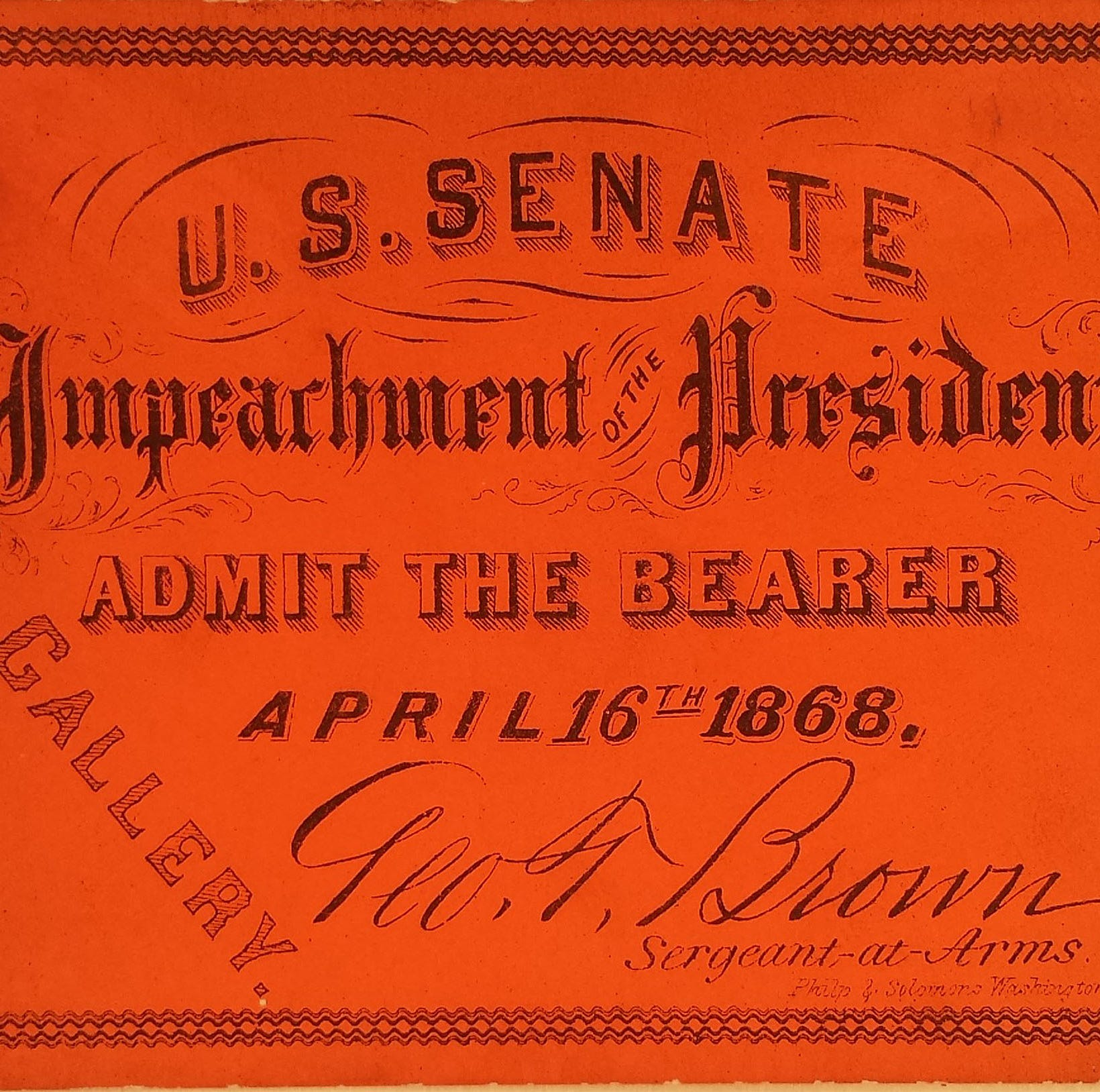 A tale of two impeachment trial tickets at the York County History Center