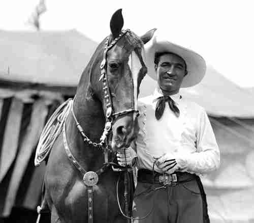 Tom Mix was a silent screen movie star who appeared with his wonder horse Tony. When sound pictures arrived in the late 1920s, Mix changed careers. He formed a traveling circus that came to Richmond on April 22, 1937. And he brought Tony with him.