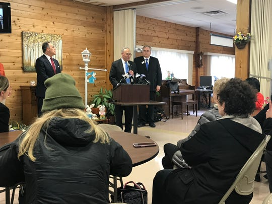 Sen. Charles Schumer (center) speaking at Henrietta Senior Center on April 15, 2019.