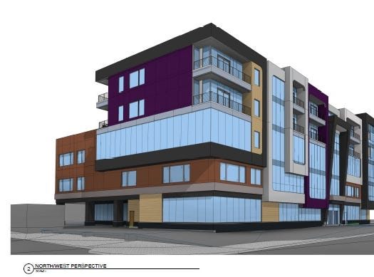 Rendering of a proposed five-story building on Midtown's Parcel 2 at South Clinton Avenue and East Broad Street, seen here looking southeast from South Clinton and Elm.