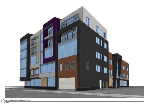 Rendering of a proposed five-story building on Midtown's Parcel 2 at South Clinton Avenue and East Broad Street, seen here looking northwest.