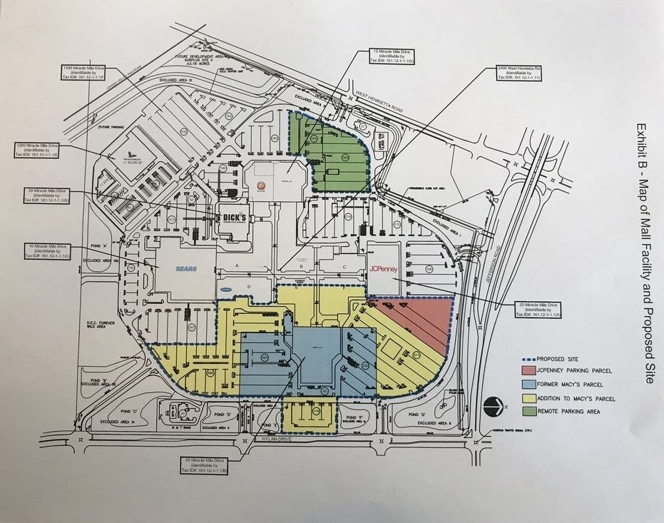 A map showing the proposed parking changes for the vacant Macy's at Marketplace Mall.