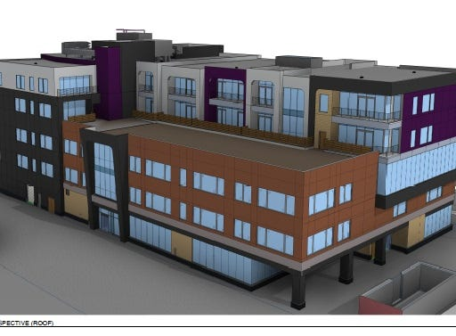 Rendering of a proposed five-story building on Midtown's Parcel 2 at South Clinton Avenue and East Broad Street, seen here looking southwest.