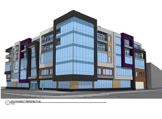 Rendering of a proposed five-story building on Midtown's Parcel 2 at South Clinton Avenue and East Broad Street, seen here looking northeast from Clinton and Broad.