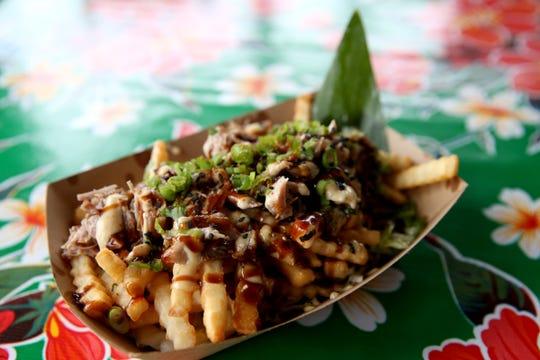 Kalua fries at Pandan Leaf Cafe, a Hawaiian Fusion restaurant and drive-thru in Salem on April 15, 2019.