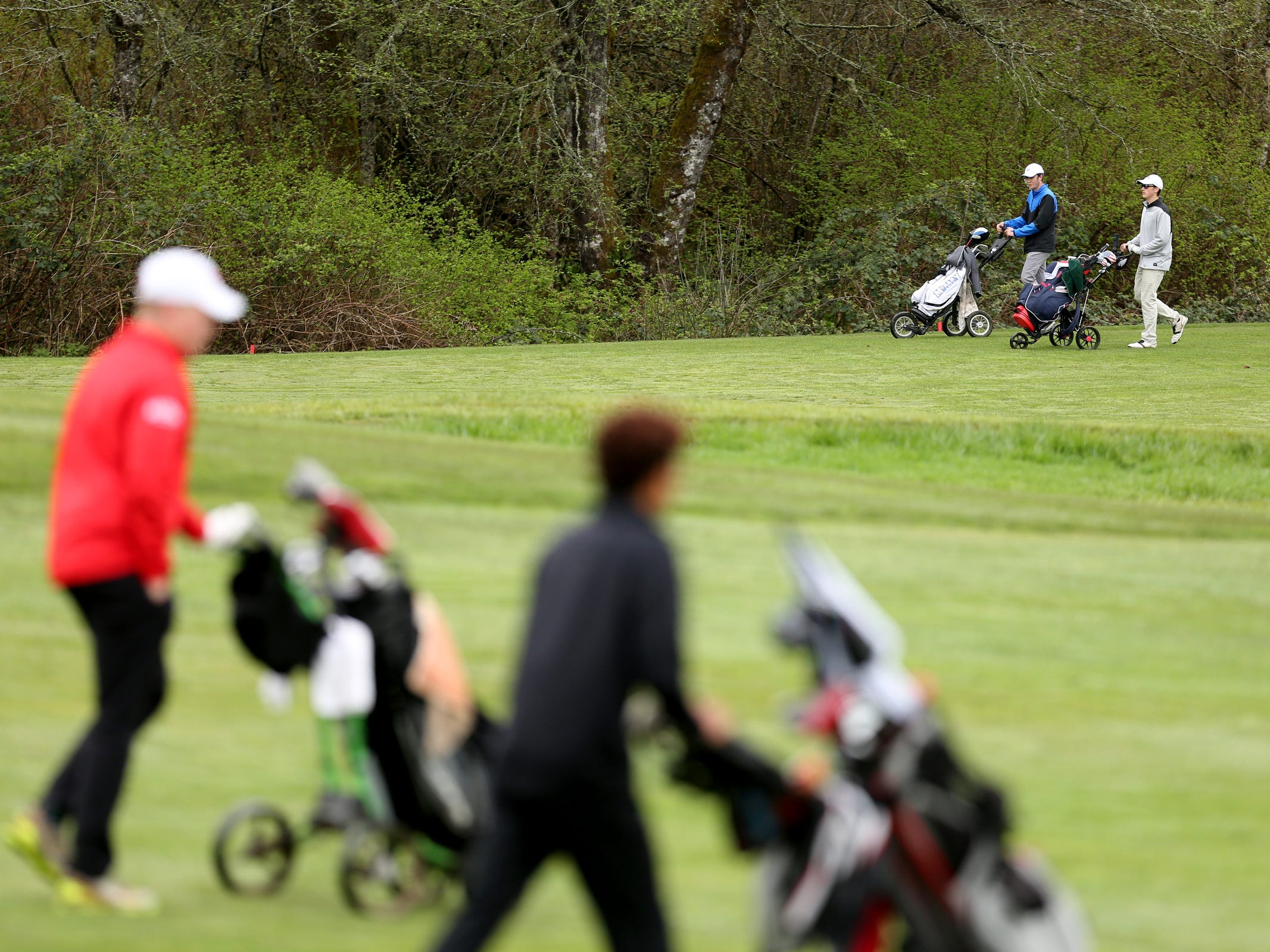 A Mountain Valley Conference league high school golf match at Creekside Golf Club in Salem on April 15, 2019.