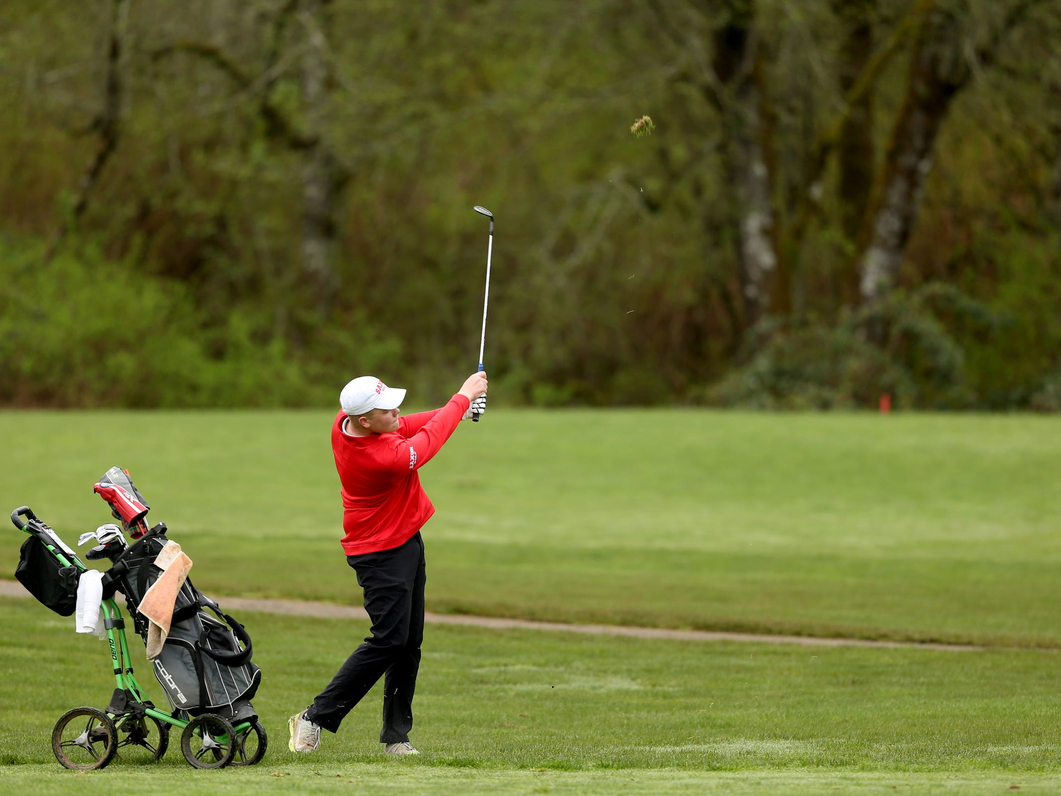 South Salem's Lucas Paul competes during a Mountain Valley Conference league high school golf match at Creekside Golf Club in Salem on April 15, 2019.