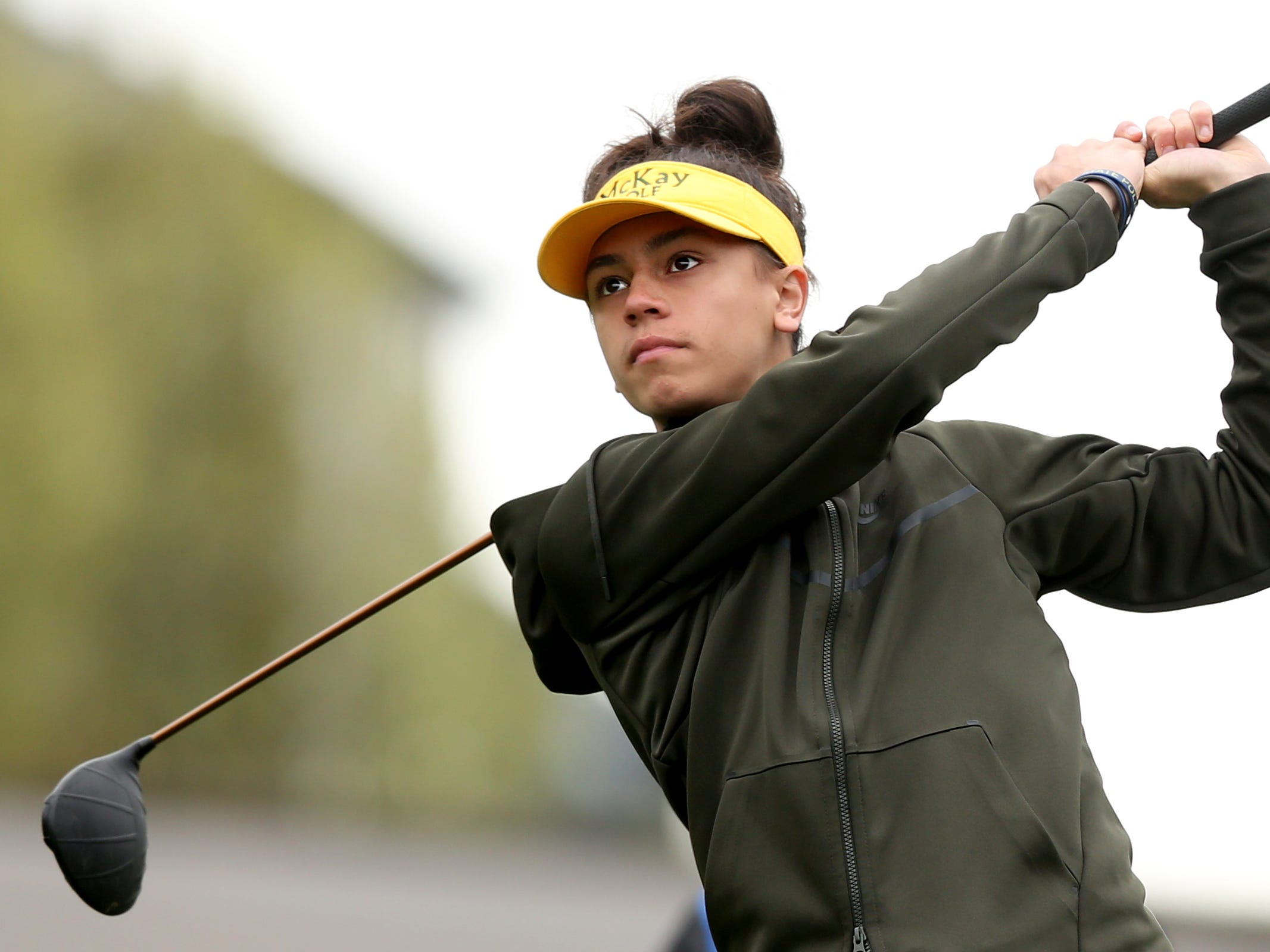 McKay's Breven Strong tees off during a Mountain Valley Conference league high school golf match at Creekside Golf Club in Salem on April 15, 2019.