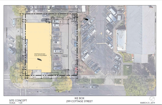 A site plan for the proposed IKE Box location at the corner of Court and Cottage streets NE in Salem.