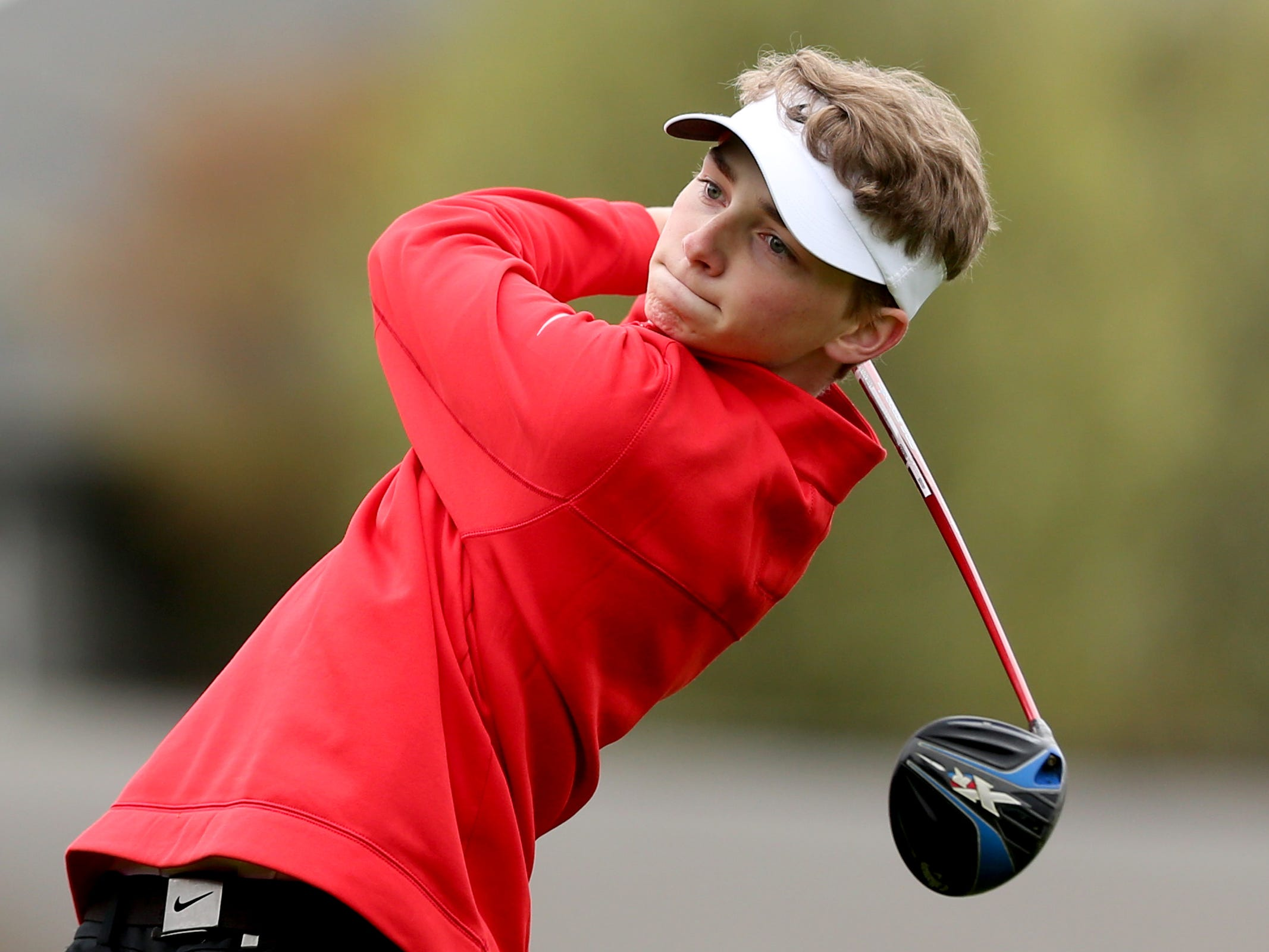 South Salem's Samuel Healy competes during a Mountain Valley Conference league high school golf match at Creekside Golf Club in Salem on April 15, 2019.