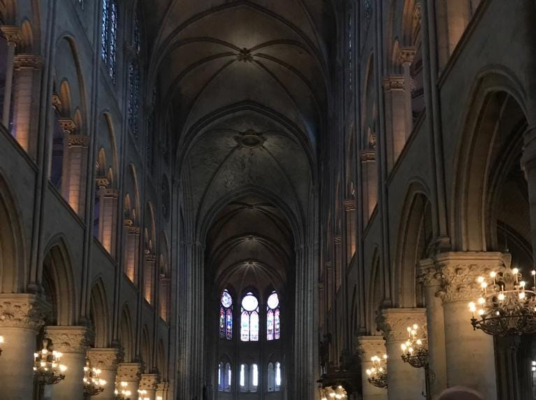 The interior of the Notre Dame cathedral.