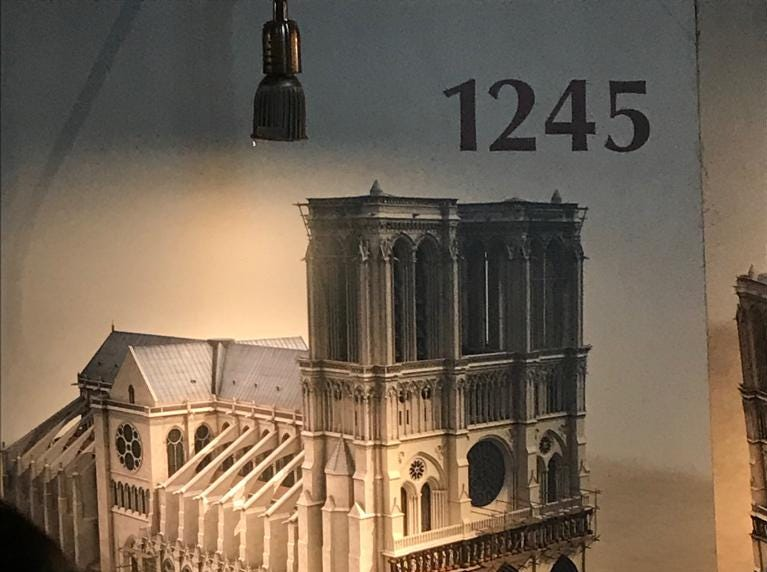 Construction of the Notre Dame cathedral in 1245.