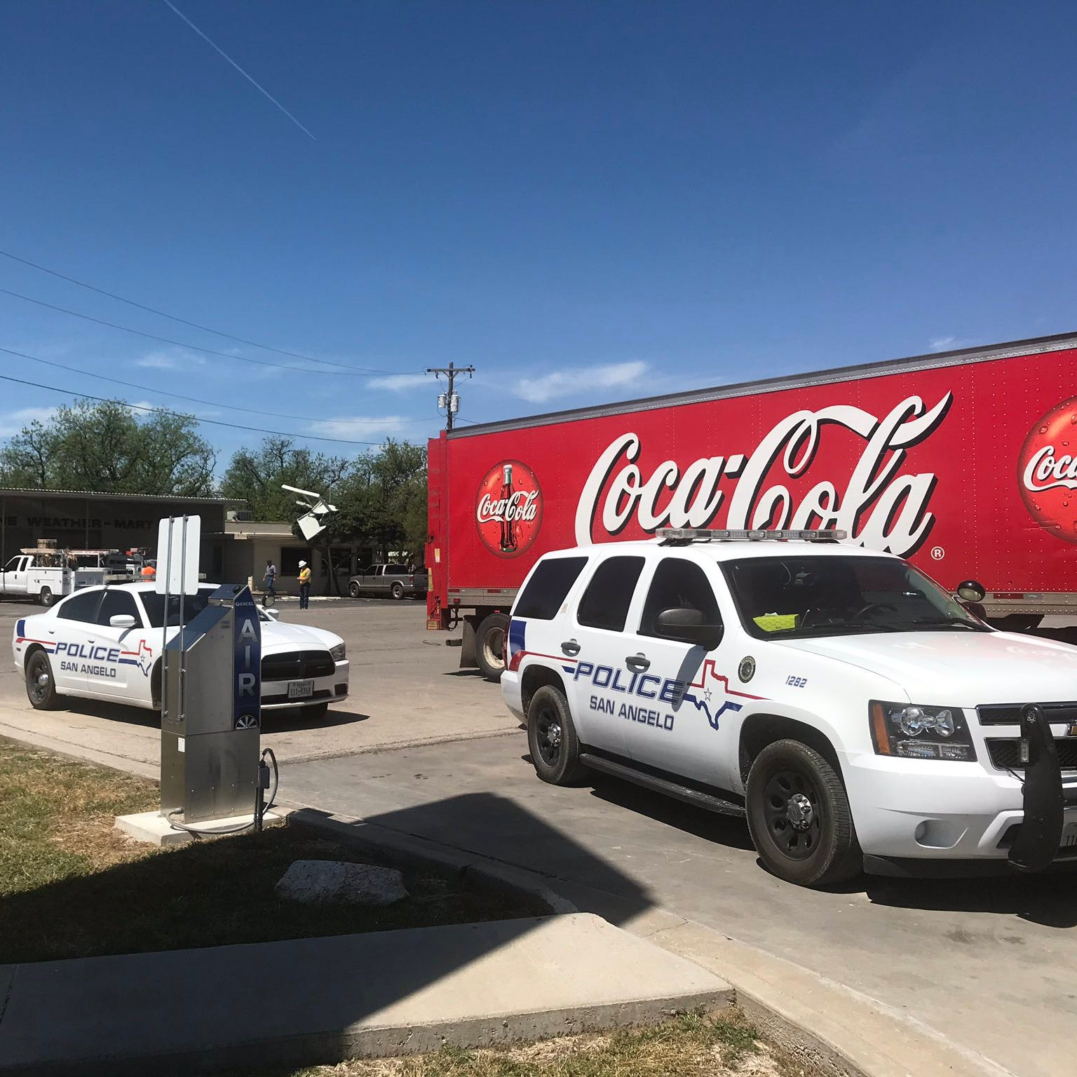 Coca-Cola truck reportedly runs into downed power line in north San Angelo, AEP on scene