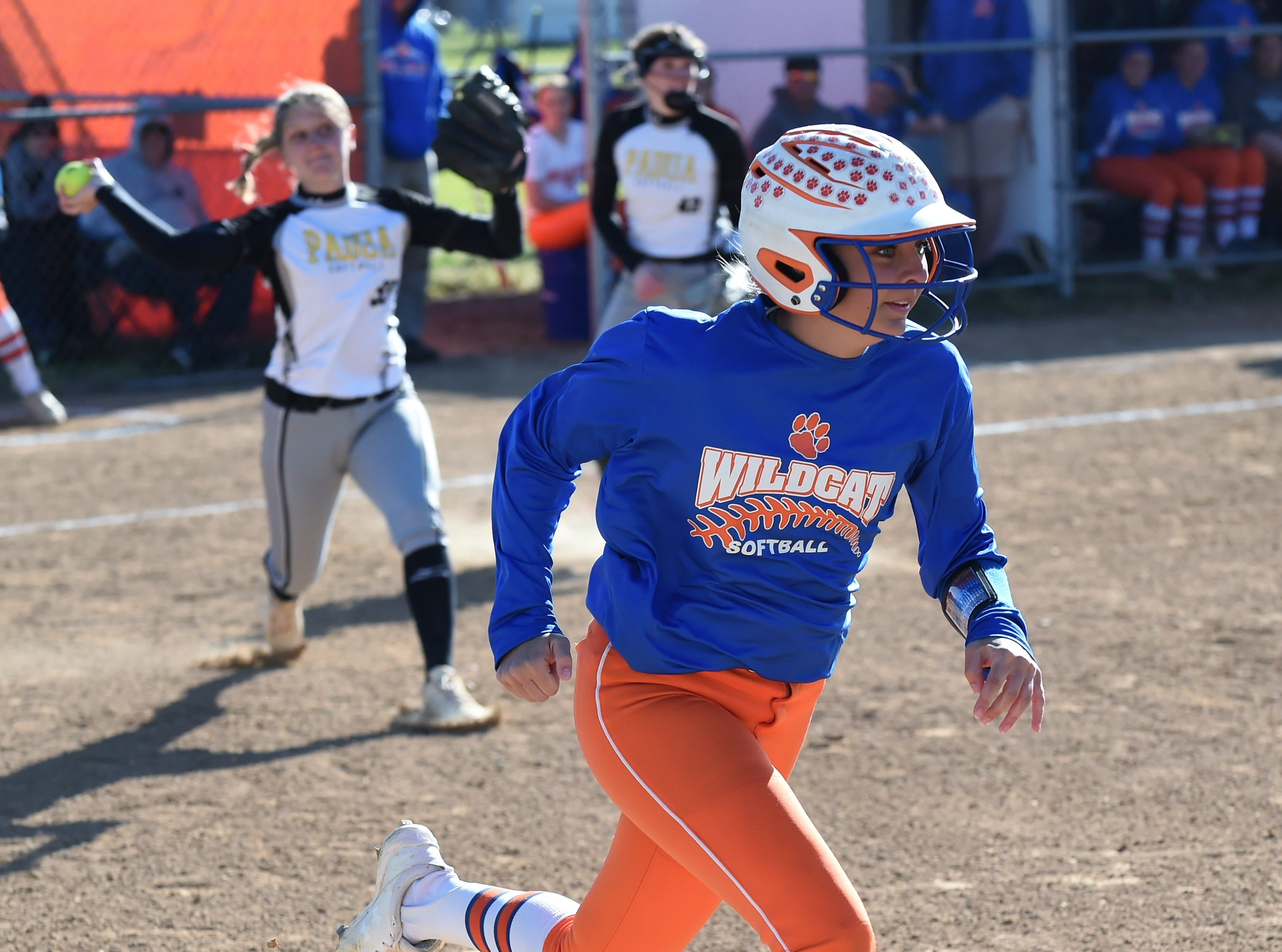 A Delmar runner sprints down the first base line after a hit on Monday, April 15, 2019. The Wildcats defeated Padua Academy, 6-2.