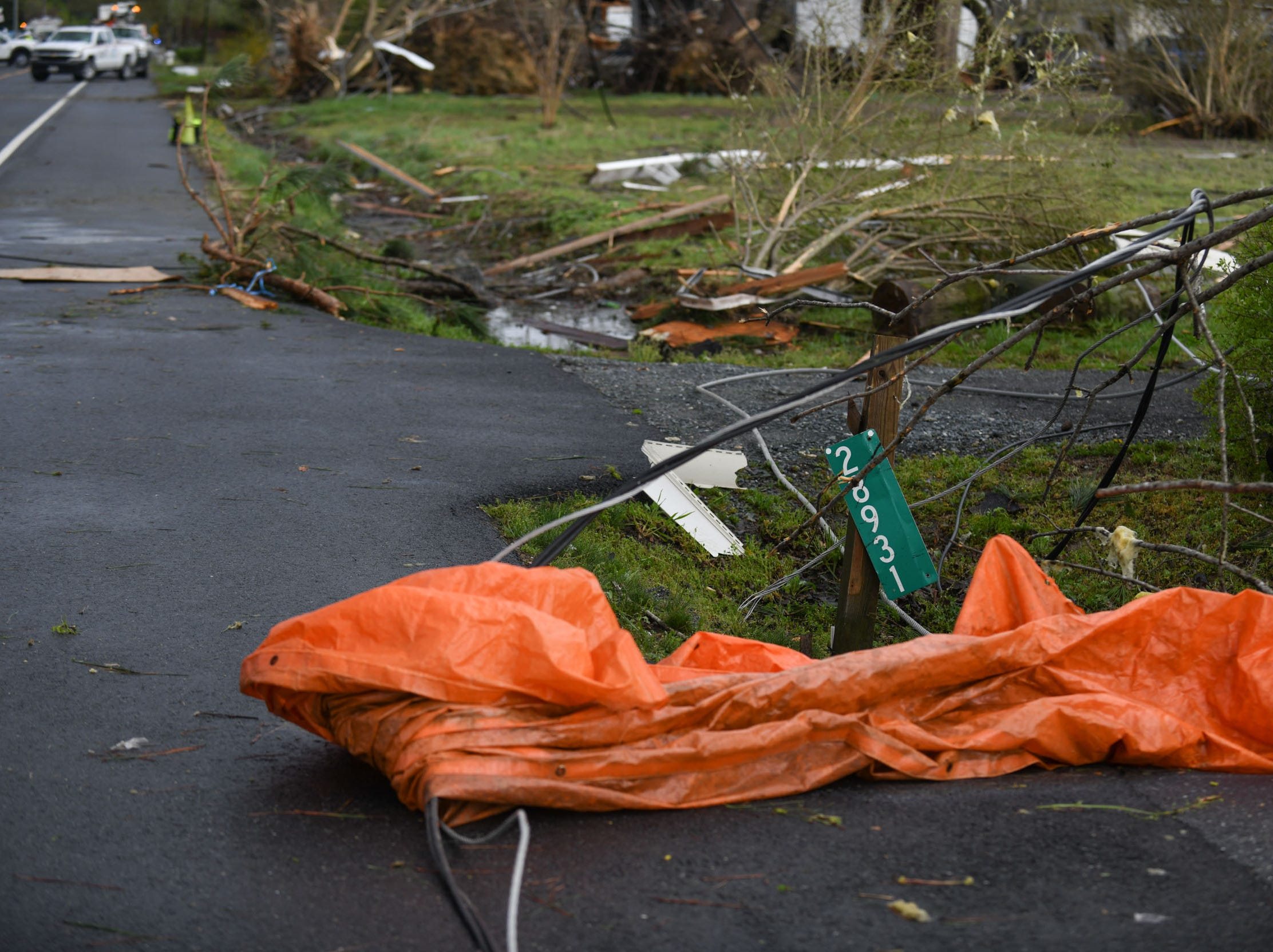 Debris litters Seaford Rd. in Laurel, Del. after a strong band of storms passed through Sussex County on Monday, 15, 2019.