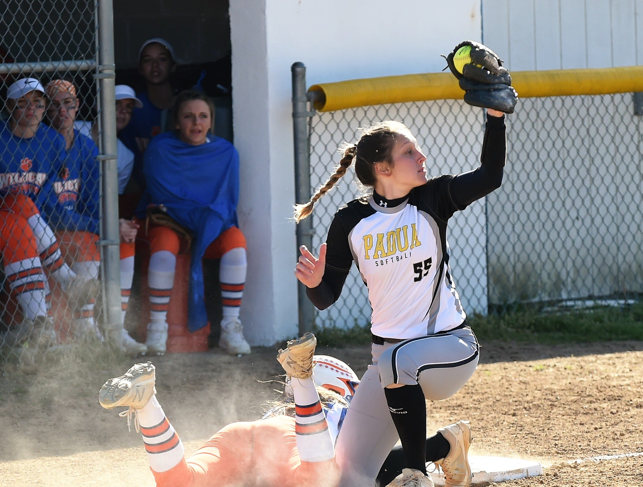 Padua's Alexandra Musial gets the tag-out at third base on Monday, April 15, 2019.
