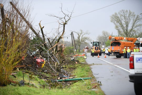 Debris along the side of Seaford Rd. in Laurel, Del. after a strong band of storms passed through Sussex County on Monday, 15, 2019.