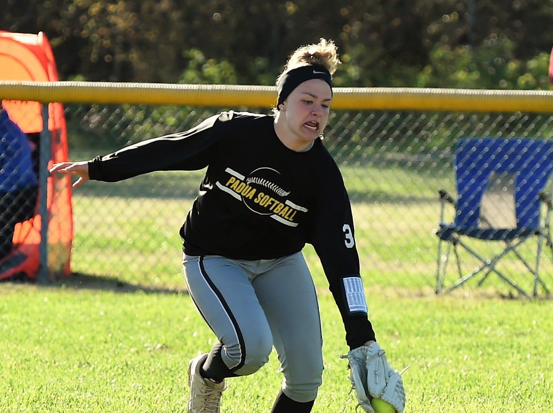 Padua's Kathryn Twardowski gets a catch against Delmar on Monday, April 15, 2019. The Wildcats defeated Padua Academy, 6-2.
