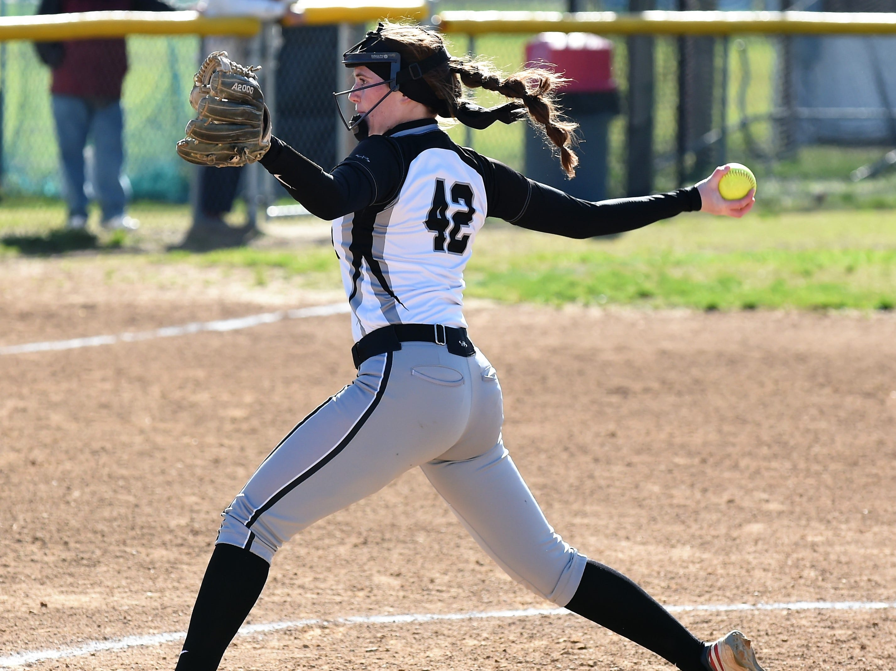 Padua pitcher Melanie Grant pitches against Delmar on Monday, April 15, 2019. The Wildcats defeated Padua Academy, 6-2.