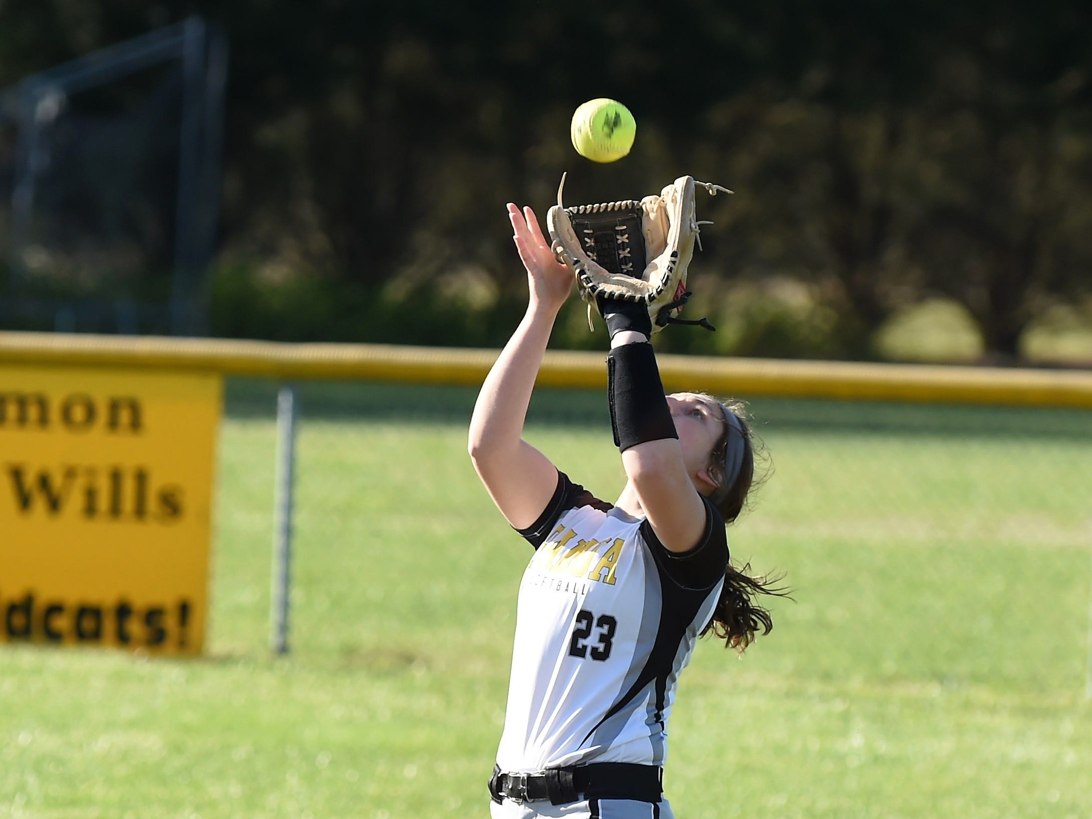 Padua's Caitlin Donnelly makes a catch against Delmar on Monday, April 15, 2019. The Wildcats defeated Padua Academy, 6-2.