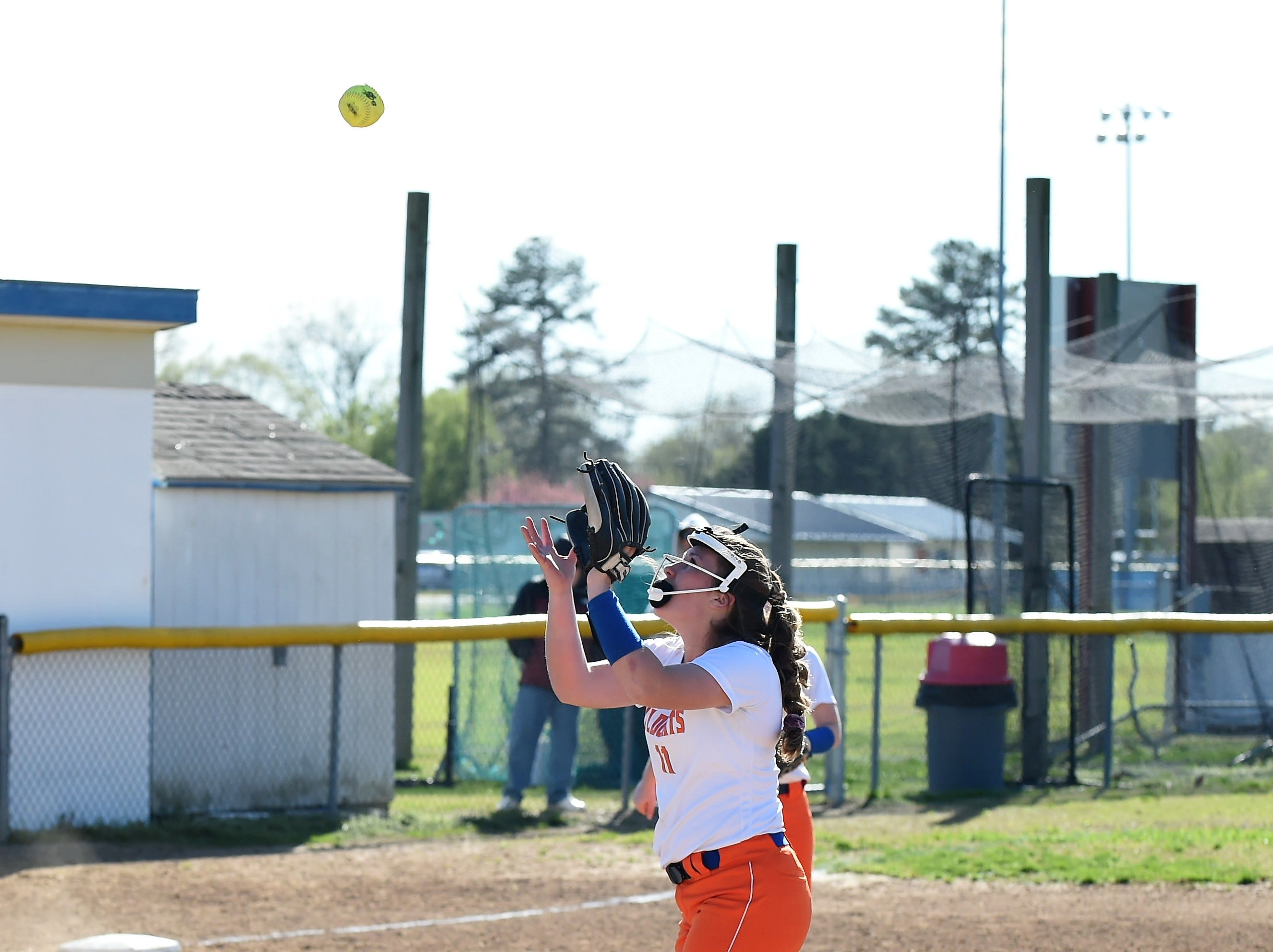 Delmar pitcher Ashlyn Tapman goes to make a catch on Monday, April 15, 2019. The Wildcats defeated Padua Academy, 6-2.