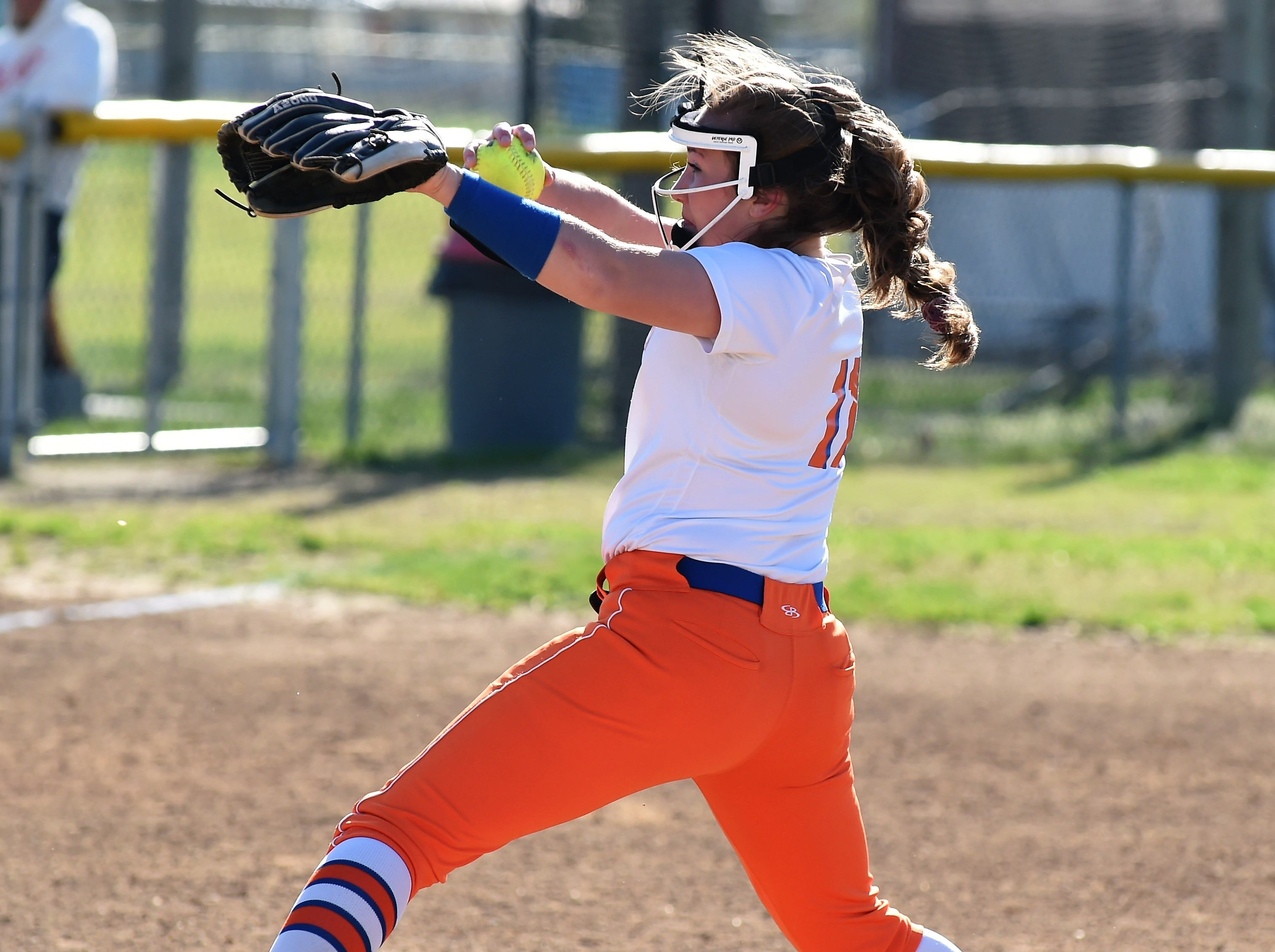 Delmar pitcher Ashlyn Tapman throws a pitch on Monday, April 15, 2019. The Wildcats defeated Padua Academy, 6-2.