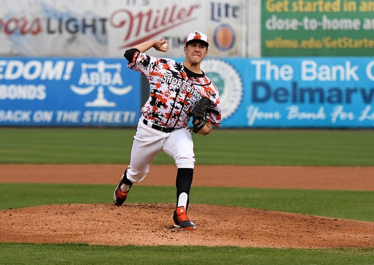Baltimore Orioles' first-round pick Grayson Rodriguez pitches for the Delmarva Shorebirds on Friday, April 12, 2019.