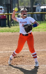 Delmar pitcher Ashlyn Tapman throws to first on Monday, April 15, 2019. The Wildcats defeated Padua Academy, 6-2.