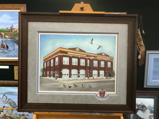 This painting of the Chincoteague Fire Station on Main Street will be artist Kevin McBride's featured work at the 40th Annual Chincoteague Easter Decoy and Art Festival in Chincoteague, Virginia.