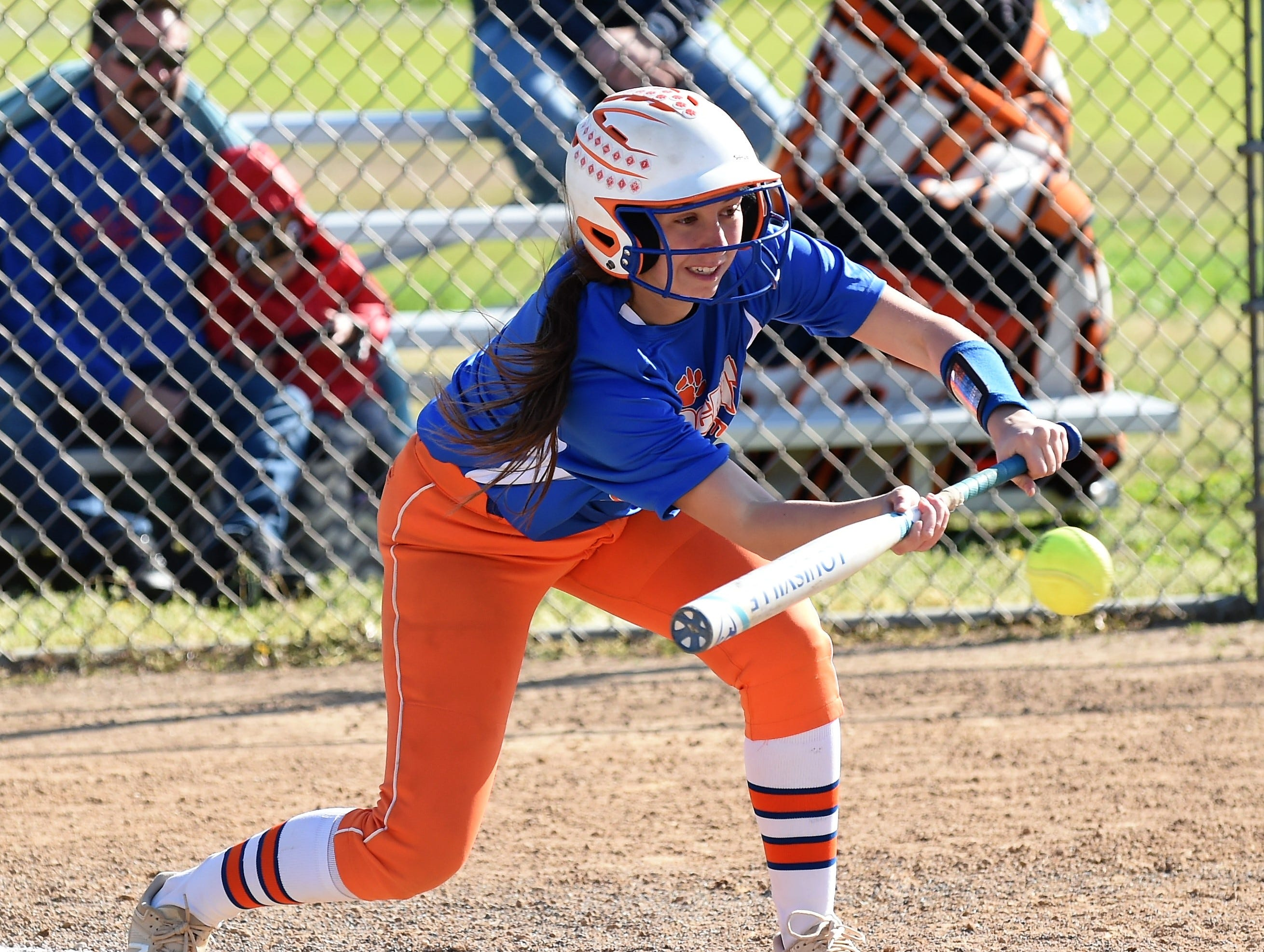 Delmar outfielder Angelina Arter bunts on Monday, April 15, 2019. The Wildcats defeated Padua Academy, 6-2.