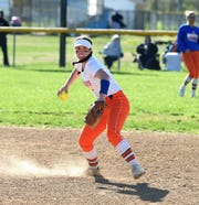 Delmar shortstop Jordan Moore looks to first base for the throw on Monday, April 15, 2019. The Wildcats defeated Padua Academy, 6-2.