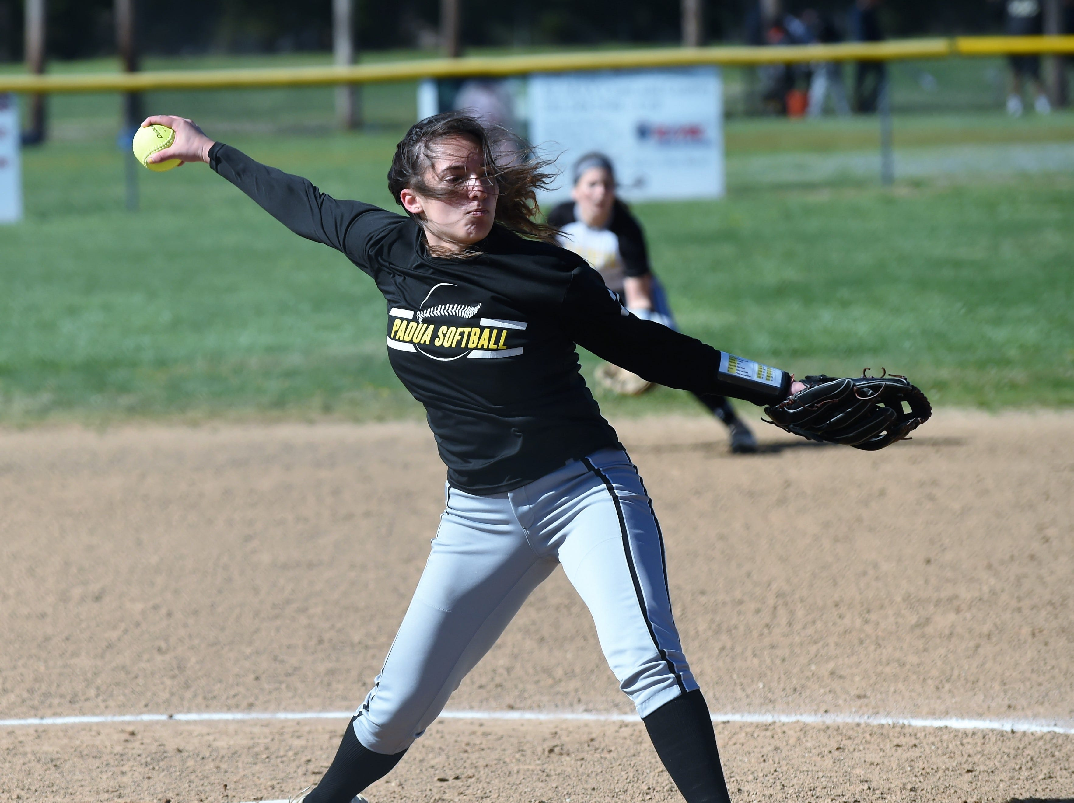 Padua pitcher Hailey Brooks pitches against Delmar on Monday, April 15, 2019. The Wildcats defeated Padua Academy, 6-2.