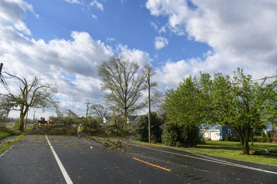Downed trees, damaged power lines and damage to multiple homes has Seaford Rd. closed off after a possible tornado passed through overnight in Laurel, Del. on Monday, 15, 2019.