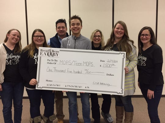 Kohler High sophomore Erik Batkiewicz organized a fundraiser for MOPS that raised $1,500.