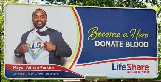 Shreveport Mayor Adrian Perkins is a Super Hero for LifeShare Blood Center and is featured on a Fairfield Avenue billboard for the agency's Super Hero project. He donates blood and wants everyone else to, too.