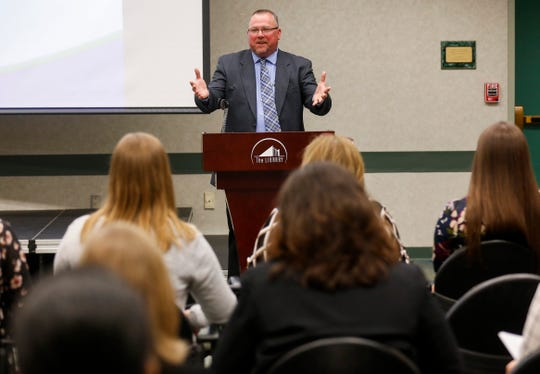 Don Wells, chairman of the Underage Drinking Task Force, speaks during the Underage Drinking Task Force 20-Year Recognition Event at the Library Center on Monday, April 15, 2019.