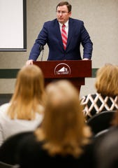 Greene County Prosecuting Attorney Dan Patterson speaks during the Underage Drinking Task Force 20-Year Recognition Event at the Library Center on Monday, April 15, 2019.