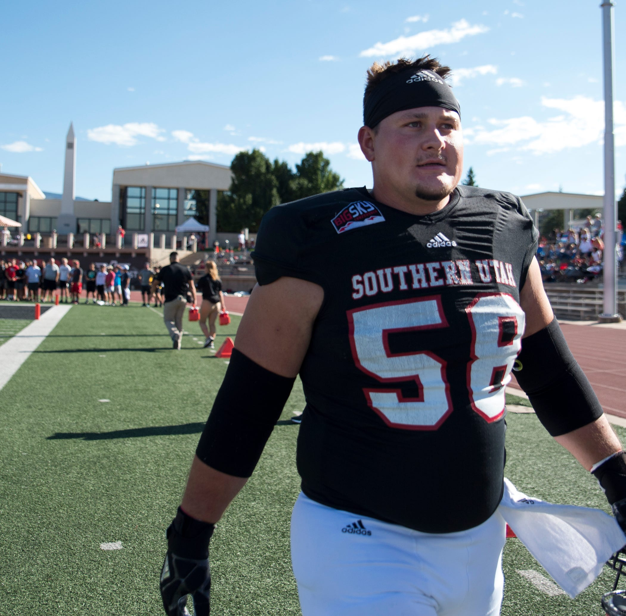 Offensive lineman Zach Larsen, a team captain, says he is trying to lead by example as Southern Utah looks to bounce back from a difficult 2018 season.