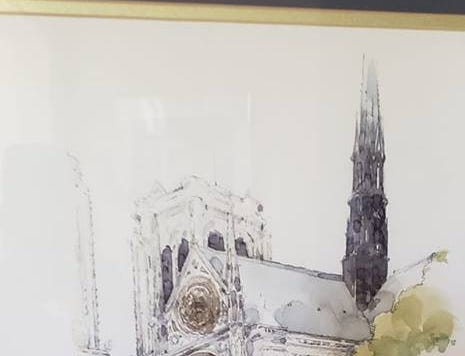We watched the artist paint this beautiful picture of the back of Notre Dame in 1997. It's always been one of my favorite pieces of art. Now it is even more treasured.