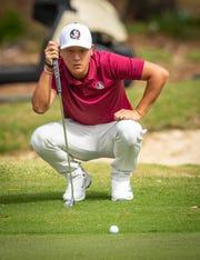 FSU golfer John Pak sizes up a putt in a recent tournament. He will compete in the ACC Men's Golf Championship April 18-20, 2019 in New London, North Carolina.