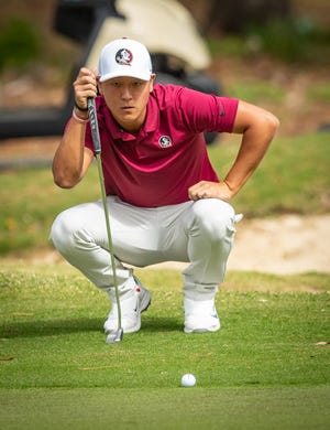FSU golfer John Pak sizes up a putt in a recent tournament. He will compete in the ACC Men's Golf Championship April 18-20, 2019 in New London, North Carolina.