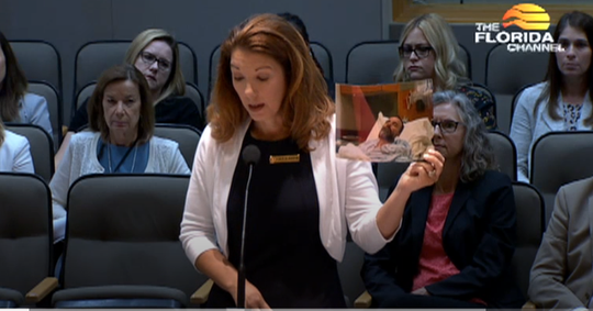 Ashley Rabon, widow of Jacksonville Beach firefighter Ronald Rabon, testifies before Senate committee last week in favor of bill giving firefighters expanded health coverage and death benefits.