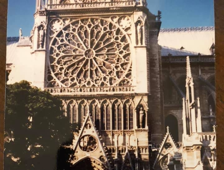 Madelyn Skene standing in front of Notre Dame on wonderful trip to France, August 1998. I'm absolutely heartbroken at the loss of this iconic and utterly beautiful cathedral.