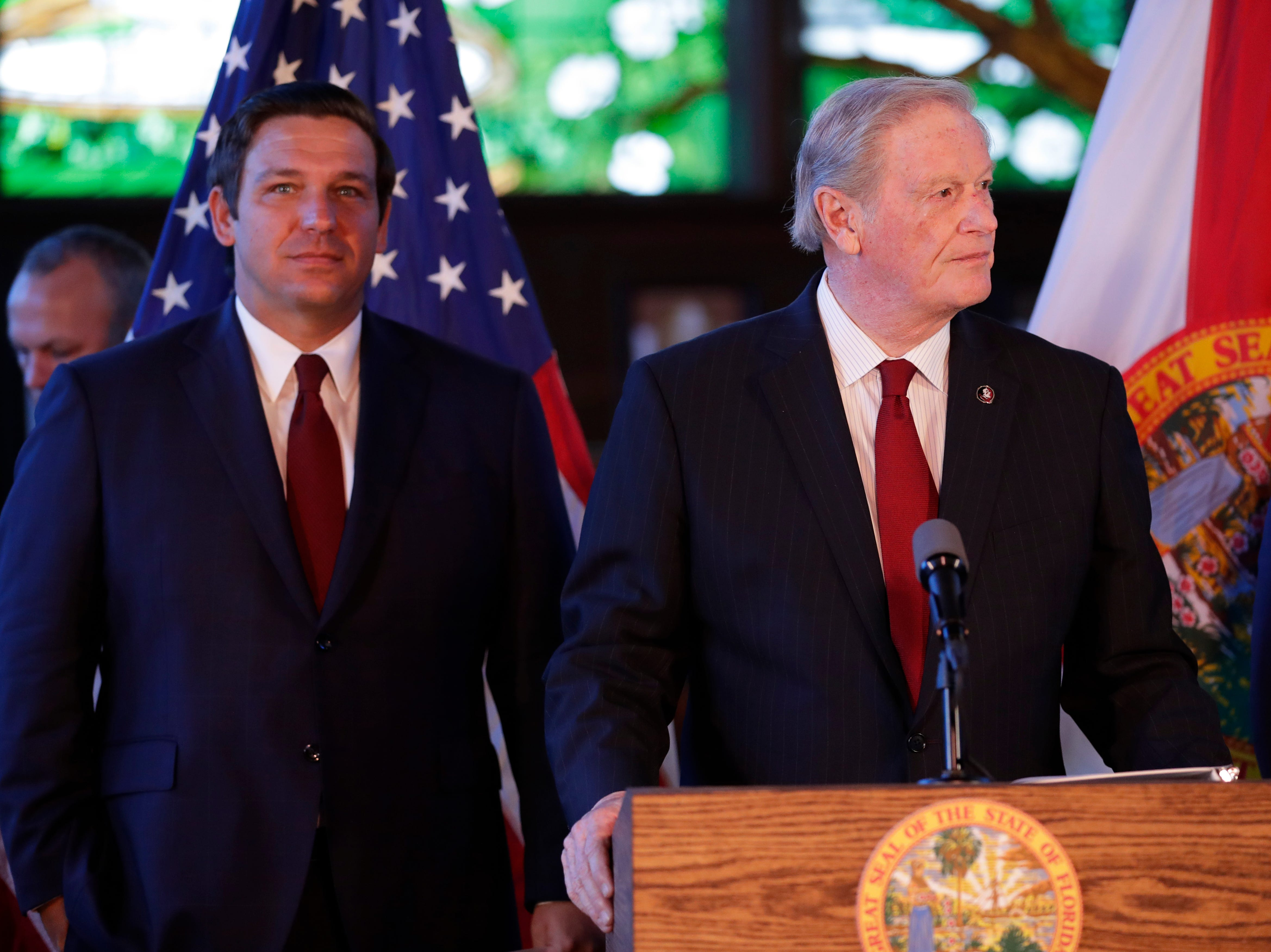 Florida State University President John Thrasher introduces Gov. Ron DeSantis as the pair affirm free speech rights on all higher education campuses in the state of Florida in Dodd Hall at FSU Monday, April 15, 2019.