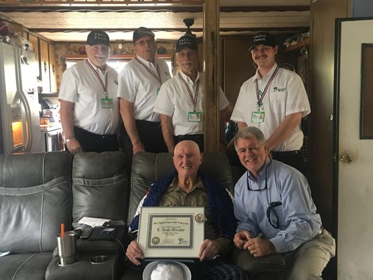 Caption: Big Bend Hospice's (BBH) Valor Team recently honored L. Kent Murphy, a Navy Korean War Veteran who served as an Aviation Boatswain's Mate, Petty Officer First Class (AB1), aboard the USS Valley Forge (CV-45).